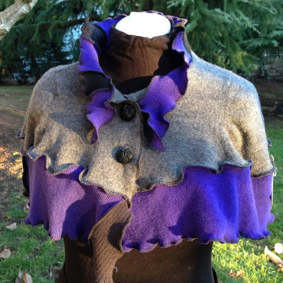 Upcycled Felted Wool Capelet Shawl Collar by danamurphydesigns, $45.00