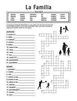 Worksheet Easy Spanish Worksheets 1000 ideas about spanish worksheets family on pinterest la familia extended crossword puzzle worksheet offers practice for beginning