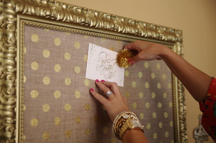 gold dot burlap bulletin board. Colors, meh, but I like this idea for the kitchen!
