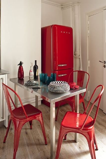 Paris apartment, small kitchen, red SMEG fridge, red