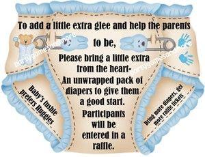 UNIQUE PERSONALIZED DIAPER RAFFLE TICKETS BABY SHOWER INVITATION INSERTS FAVOR