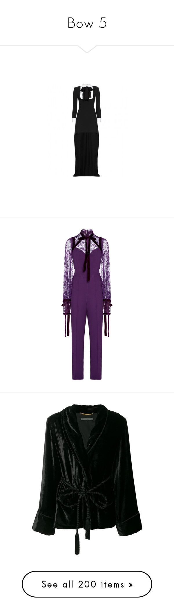 """""""Bow 5"""" by twinkle-twin ❤ liked on Polyvore featuring dresses, gowns, jumpsuits, elie saab, outfits, purple, purple jumpsuits, jump suit, elie saab jumpsuit and intimates"""