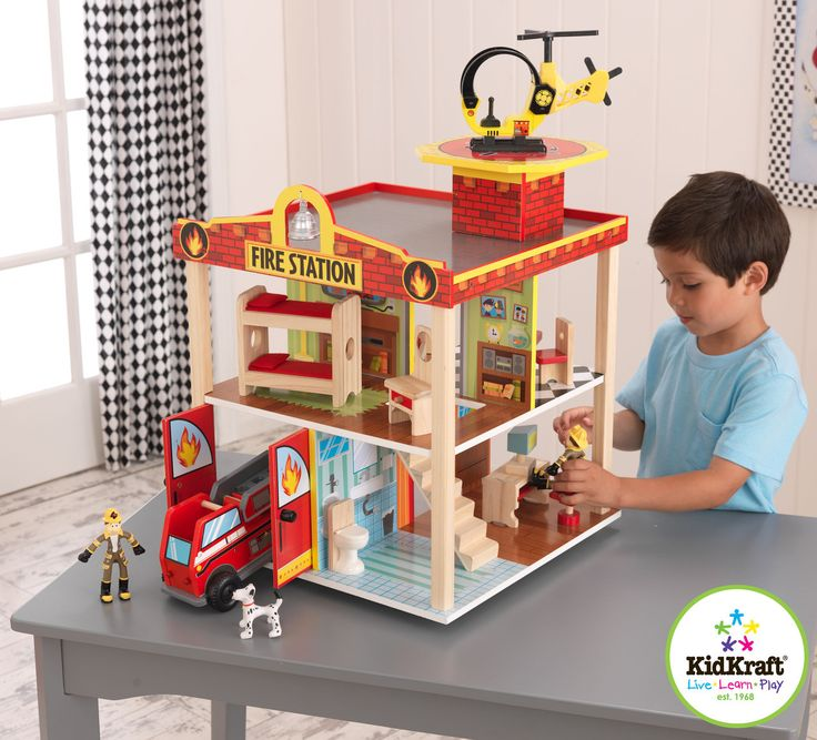 Kidkraft Fire Station Set | Wooden Pretend Play Sets