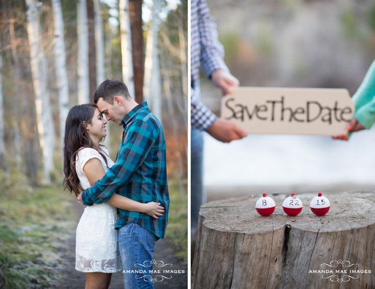 River Engagement Pictures with a fishing theme Save the Dates by Bend Wedding Photographer, Amanda Mae Images