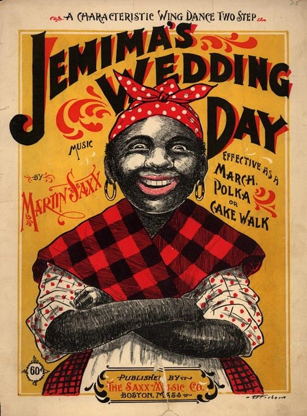 """Jemima"" character on 1899 cakewalk sheet music cover"