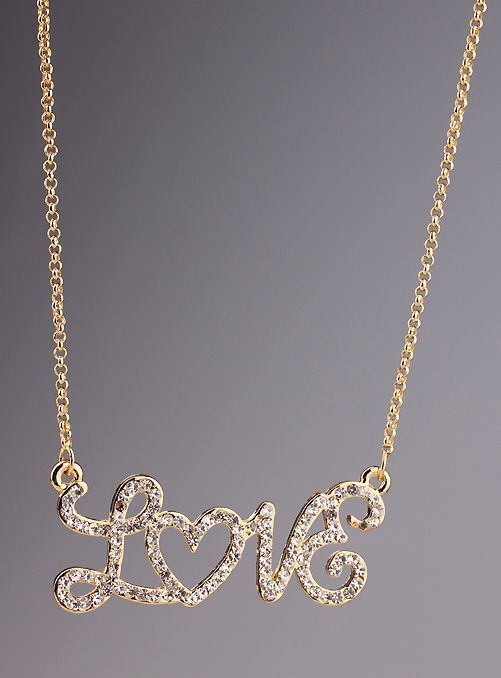 d6935e1b1 Gold Diamond LOVE Chain Necklace on shopstyle.com | Love Jewelry ...