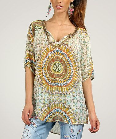 Look at this #zulilyfind! Green & Blue Tribal Top by Peace and Love #zulilyfinds, wish I could afford it!