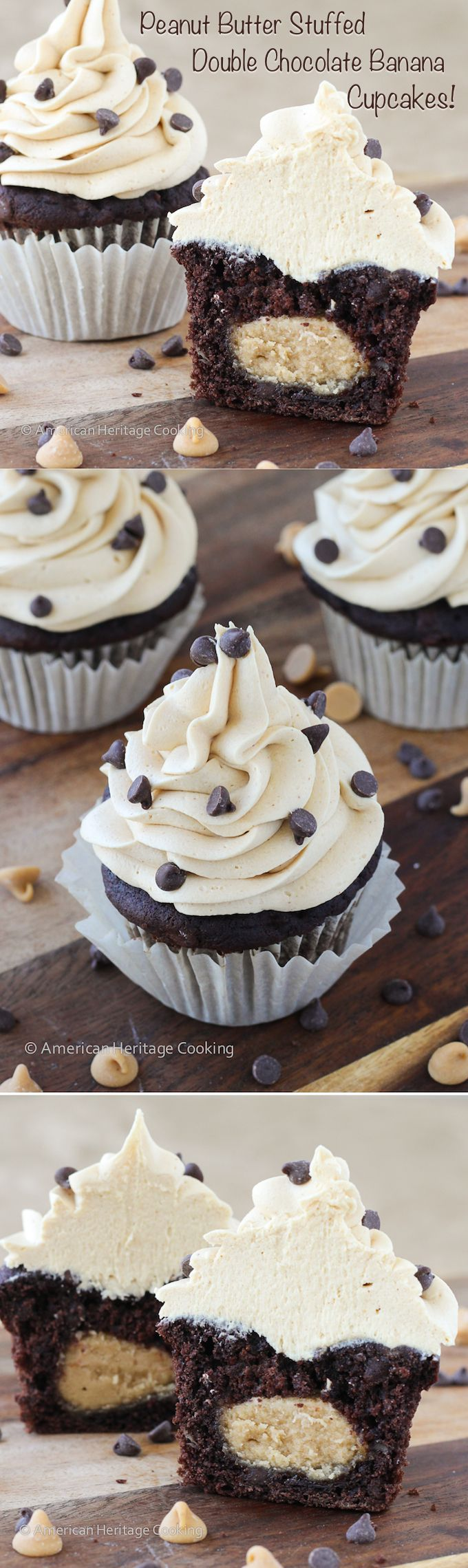 Peanut Butter Stuffed Double Chocolate Banana Cupcakes Peanut Butter Frosting