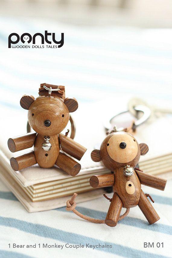 Ponty Dolls : 1 Bear and 1 Monkey Couple Keychains by PontyDolls
