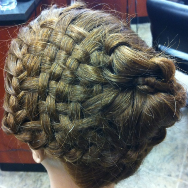 How To Do A Basket Weave Updo : Basket weave braided bun hair