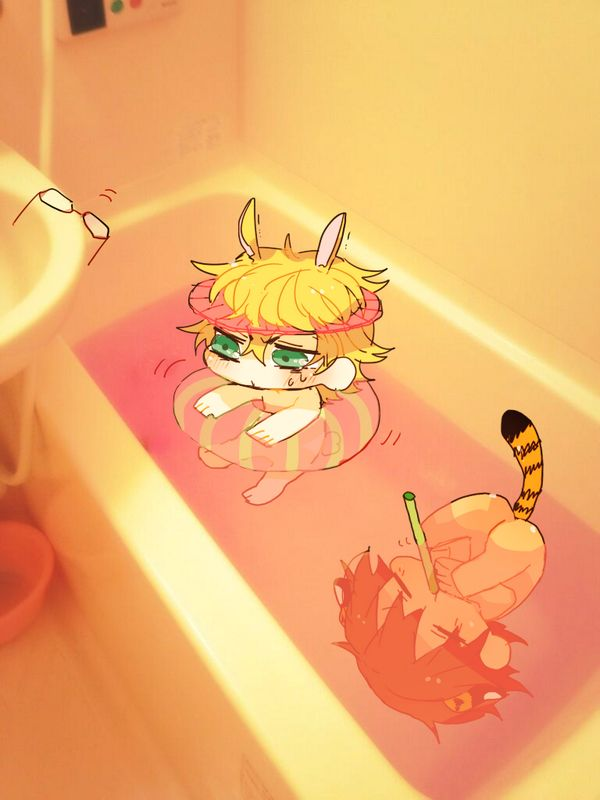 Chibi bunny and tiger bath time