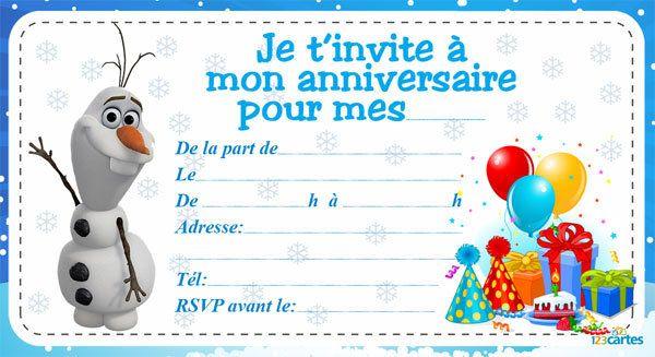Invitation anniversaire Reine des neiges - 123 cartes