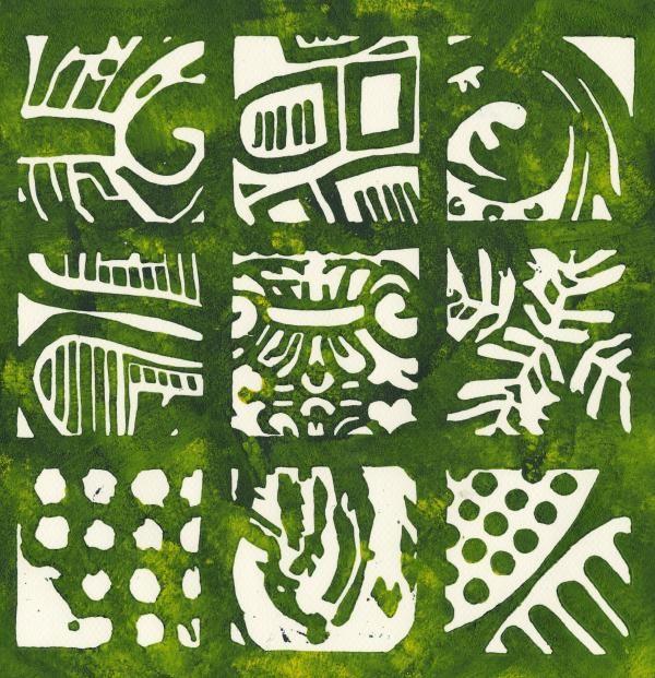Rubbing Patterns Linocut Drawing  - Rubbing Patterns Linocut Fine Art Print