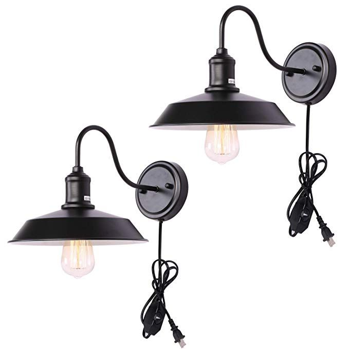 Kingmi Dimmable Wall Lamp Black Industrial Vintage Farmhouse Wall Sconce Lighting Gooseneck Farmhouse Wall Sconces Farmhouse Wall Lighting Plug In Wall Sconce
