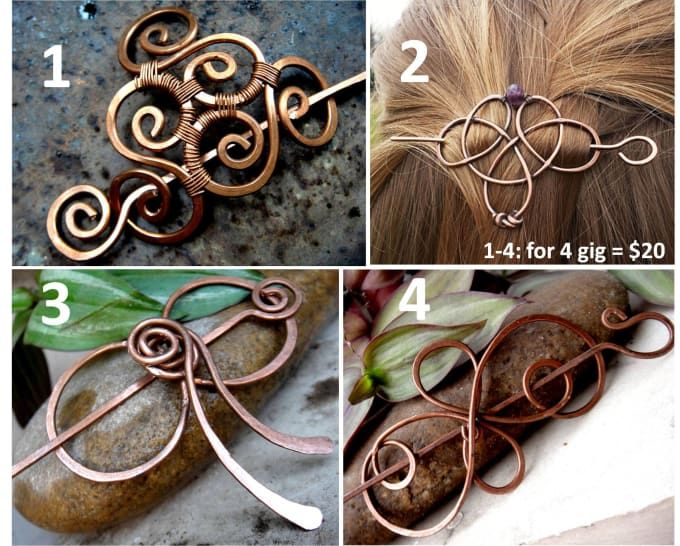 For only $5, babita943 will make you a copper wire hair barrette for 2 gigs.   Handmade unique beautiful jewelry.This lovely minimalist hair slide will add a metallic sparkle to your hair-do to complete your look. It is hand-forged from copper   On Fiverr.com