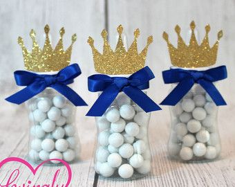 Poco Príncipe bebé botella favorece en azul y oro por LovinglyMine