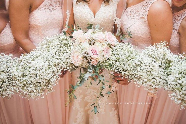Blush and white bridal bouquet and baby's breath bridesmaid's bouquets by Beautiful Blooms by Jen. Photo by CT Johnson Photography. 2-25-17 Merriam and Dustin- Grand Rapids, OH Wedding Flowers