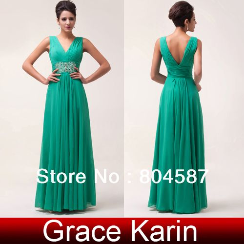 New arrival! Free shipping Green Deep V Front &Back Wedding Party Dresses Chiffon Long Evening Ball Dress 2014 Women Gown CL6064