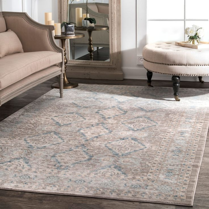 NuLoom Traditional Ornamental Diamonds Ivory/Blue/Taupe (Brown) Rug (6u0027 Part 57