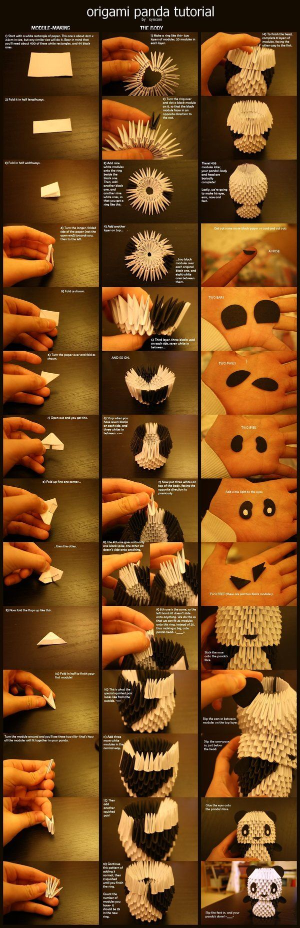 Origami Panda Tutorial- takes a lot of patience to do this! But fun and easy to do!: Tutorial Panda de Origami- leva um pouco de paciência pra fazer isso! Mas é divertido e fácil de fazer!