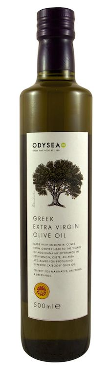 Greek extra virgin olive oil from the island of Crete.  Made with olives harvested from small groves located around the village of Aggeliana in the Mylopotamos region, an area acclaimed for the production of superior quality olive oil
