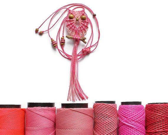 Pink Shades Owl  Macrame Owl Necklace  Women Necklace  by macraMe