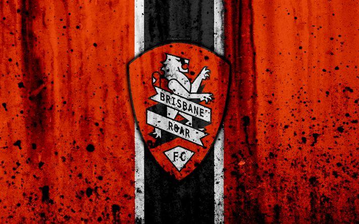 Download wallpapers 4k, FC Brisbane Roar, grunge, A-League, soccer, football club, Australia, Brisbane Roar, logo, stone texture, Brisbane Roar FC