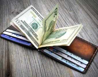 Money Clip Wallet Leather Money Clip Wallet Mens by JooJoobs