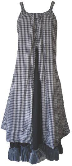 Krista Larson: Black and white plaid cotton Amish Slip