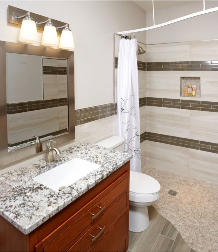 Yes it is possible to create a stylish one level (barrier free) curbless bathroom in a 5' x 7' bath remodel.