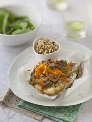 poivre, échalote, merlan, champignon de Paris, beurre, jus de citron, sel, carotte