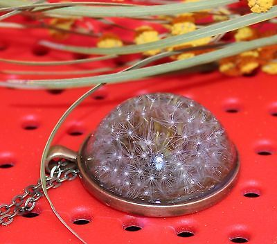 Real Dandelion / Cabochon Bronze / Chain Pendant Necklace Jewelry