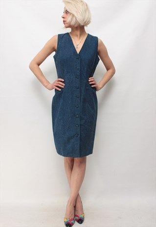 Vintage+90'+Beautiful+Amazing+Mini+Denim+Blue+Dress
