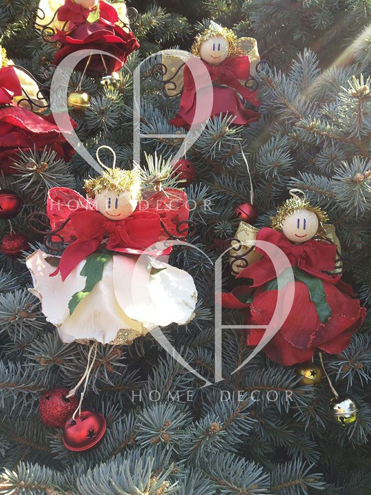Angels made of cloth or velvet flower, wings wrought iron, colored rattles