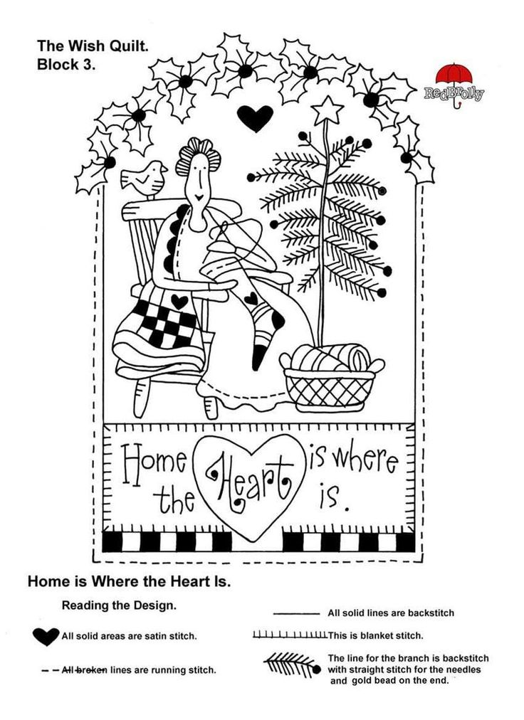 """Red Brolly  ~  The Wish Quilt Block 3, """"Home is Where the Heart Is"""" stitchery."""
