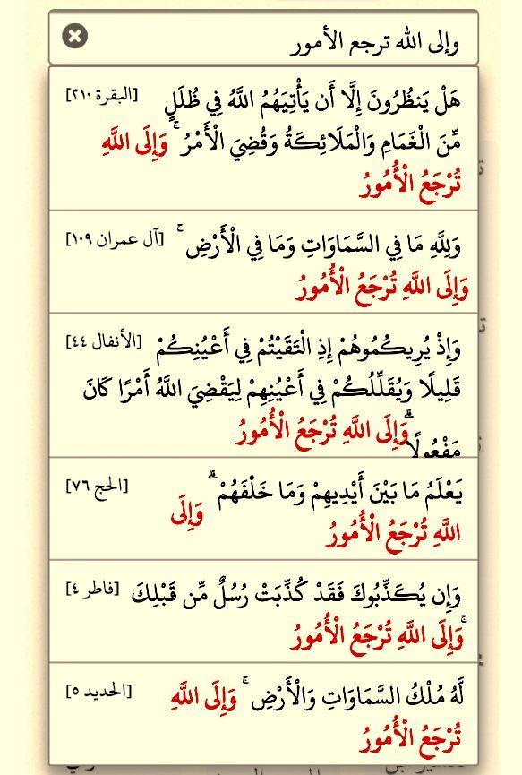 قوله تعالى وإلى الله ترجع الأمور ست مرات في القرآن البقرة ٢١٠ آل عمران ١٠٩ الأنفال ٤٤ الحج ٧٦ فاطر ٤ الحديد Good Morning Messages Quran Quotes Quran