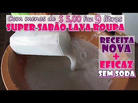 SUPER SABÃO LAVA ROUPAS (POTENTE TIRADOR DE MANCHAS) SEM SODA - YouTube