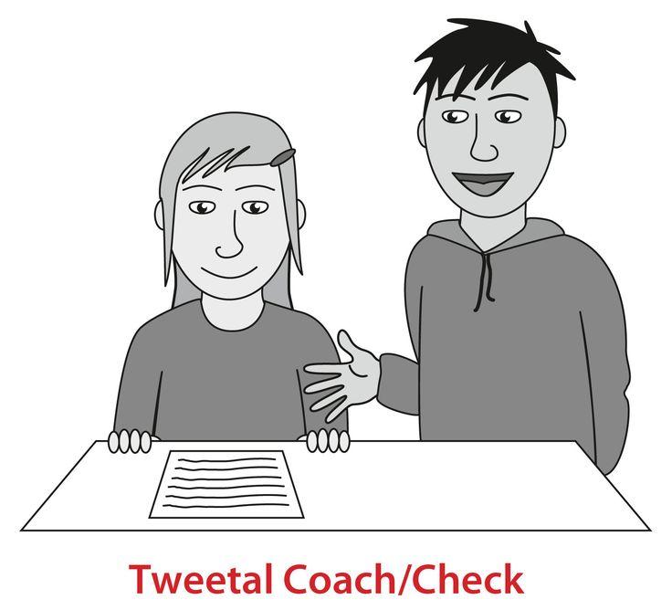 Tweetal check: Toepassing 1:De leerlingen lossen om de beurt een oefening van wiskunde op met behulp van een andere leerling. Eerste lost leerling A een opgave op terwijl leerling B toekijkt, luistert, controleert en coacht. Bij de volgende opgave wordt er andersom gewerkt, en zo voort tot alle opgaven opgelost zijn. Toepassing 2: Dit kan ook tijdens een les spelling gedaan worden. Zo leren kinderen nadenken over hoe ze woorden schrijven.