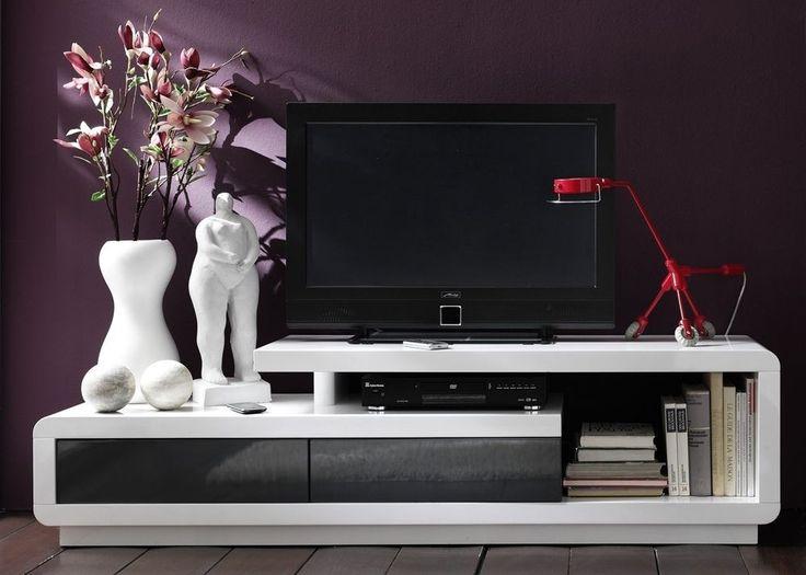 Amazing Lowboard Celio TV Board Wei Hochglanz mit Grau Hifi M bel Modernes und geradliniges Design in Kombination mit durchdachter Funktionalit t zeichnen das