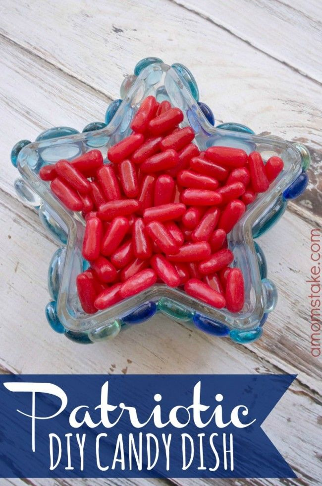 Create a cute, custom, cheap candy dish holder using dollar store items to decorate your space for 4th of July! Perfect easy decoration for patriotic holidays!