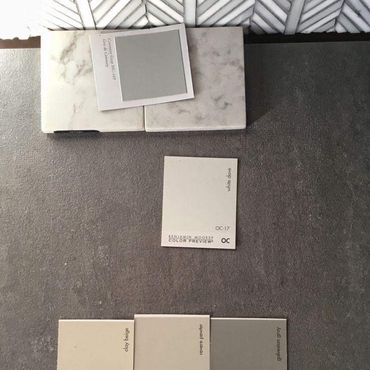 Porcelain floor tile, quartz countertops (Viatara Minuet), leaf pattern backsplash tile, and Benjamin Moore paint (Dove white, Coventry gray, revere pewter, Galveston gray). #oldhouse #renovation #italianate