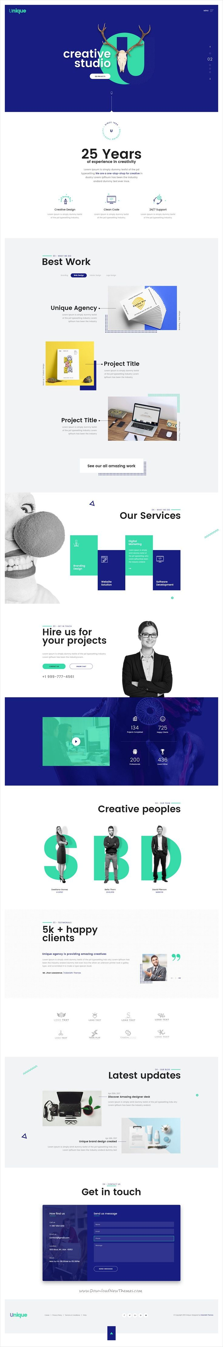 Unique is clean and modern #design onepage #PSD template for creative #studio professional website download now..