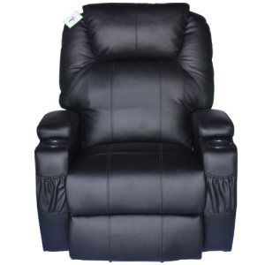 The HomCom Deluxe is a massage chair that can double as a regular recliner. The device sports a familiar design that will fit in with any modern living room. The chair comes with extra padding, so you can sit in it comfortably when the massage paddles are inactive. Black PU leather exterior Reclines to nearly 180 degrees Can swivel 360 degrees Heated back and seat