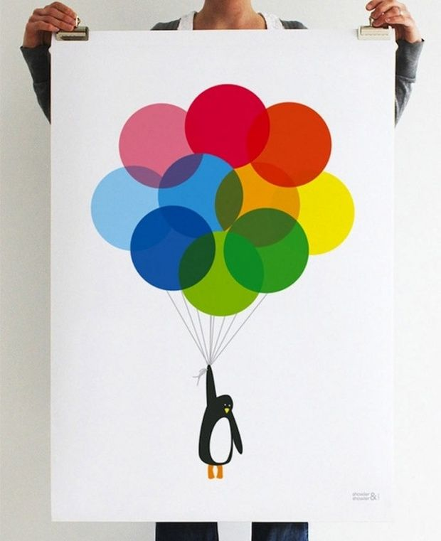 Poster designs by ShowlerWall Art, Balloons Prints, Inspiration, Kids Room, Illustration, Penguins Balloons, Graphics Design, Colors Wheels, Posters