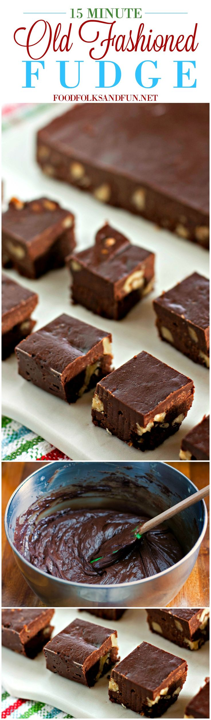 This Old Fashioned Fudge is the best fudge I've ever tasted and you only need 15 minutes of active prep time to make it! | Never Fail Fudge | Chocolate Walnut Fudge | Fudge Recipe | Christmas Recipe | Christmas Candy