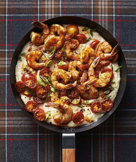 Polenta Bake With Shrimp | This Southern-inspired single skillet dinner is…