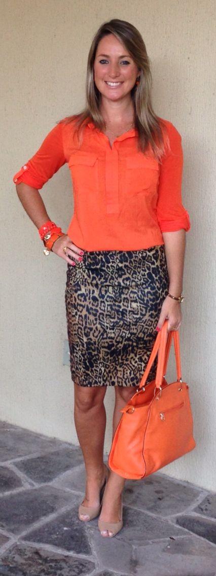 Look de trabalho - Look do dia - moda corporativa - saia lápis - animal print - ⃣laranja e leopardo