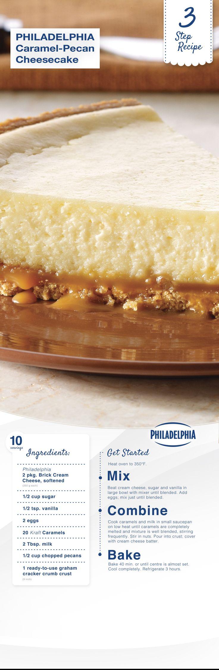 PHILADELPHIA 3-STEP Caramel-Pecan Cheesecake with Philly cream cheese