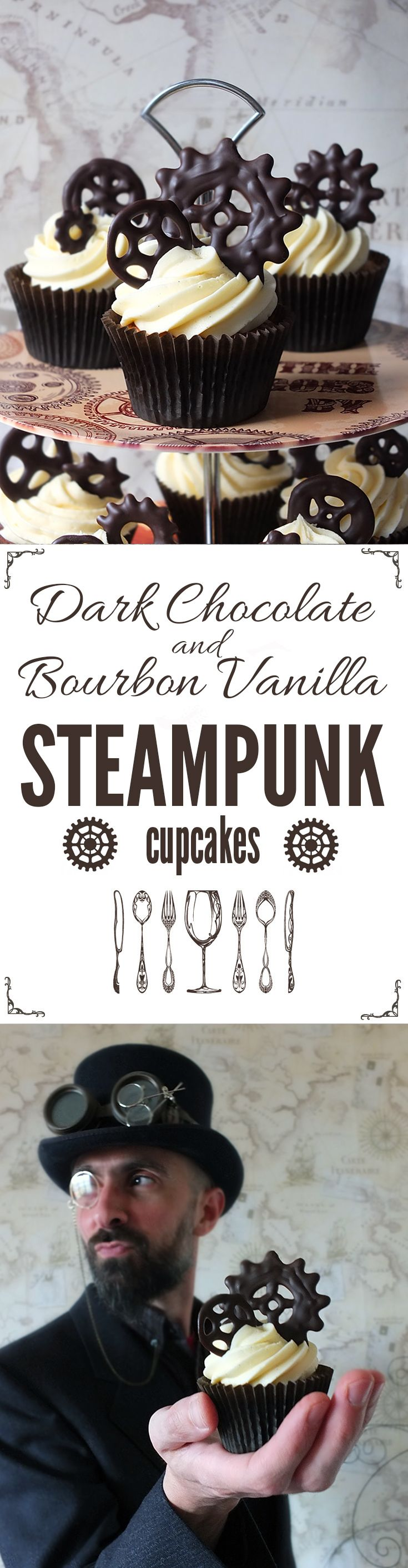 Dark chocolate steampunk cogs and gears are the star of these chocolate and bourbon vanilla cupcakes!
