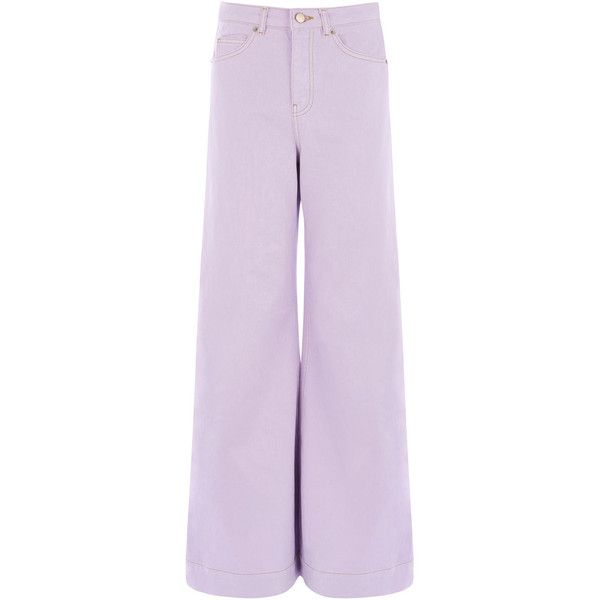 Warehouse Warehouse Super Wide Cut Jeans Size 26W 30L (105 CAD) ❤ liked on Polyvore featuring jeans, lilac, lilac jeans, wide leg jeans, denim jeans, purple jeans and warehouse jeans